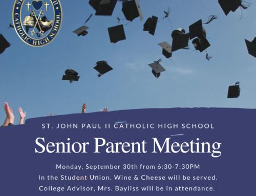 Senior Parent Meeting September 30, 2019 6:30-7:30PM